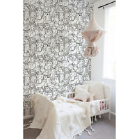 Non-Woven wallpaper Doodle cats pattern Black and white for kids room Funny
