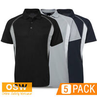 5 X MENS STYLISH INSERT POLYESTER BREATHABLE MESH VENT WORK UNIFORMS POLO SHIRTS