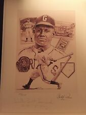 Buck Leonard Signed Paluso Litho With 3 Other Hof'ers