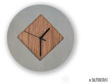 Concrete Circle With Wooden Rhombus Hole Wall Clock - Modern Wall Clock