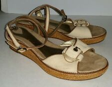 Kenneth Cole Reaction natural canvas flatform wedge woven ankle strap sandals. 9