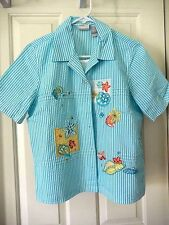 Koret  Layered Seersucker Shirt with Seashells Embroidery & Sequins-S