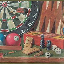 Board Games - Darts, Billards, Cards - 60 feet ONLY $30 - Wallpaper Border C038