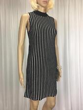 ** ASOS ** BNWT * Size 10 Black White Stripe Knit Occasion Dress - (A708)