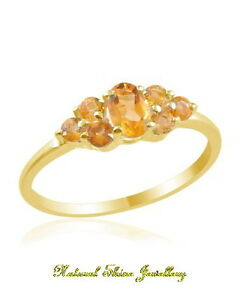 Ring 1 CT. Natural Citrine Sterling Silver-18k Yellow Gold Flashed Size 5 3/4
