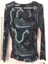 INC Blouse Silky Long Sleeve Turquoise Scallop Paisley Venetian Glam Petite M