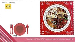 Albania Stamps 2020. Euromed postal: Gastronomy in the Mediterranean. FDC MNH
