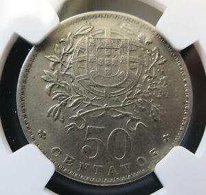 PORTUGAL 50 Centavos 1930 NGC AU 58 Scarce Unc