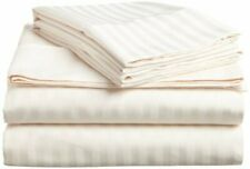 Attached Waterbed Sheet Set - Soft 100% Cotton 1000 TC Ivory  Stripe
