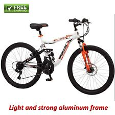 "Mongoose Mountain Bike 24"" White Boy Aluminum Dual Suspension Bicycle Shimano"
