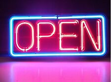 Neon Open Sign Real Glass Hand Blown Made Window or Wall Business Shop 14''x6''
