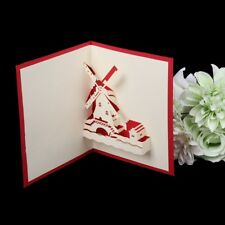Handmade 3D Pop Up Greeting Cards Romantic Windmill Anniversary Valentine's Day