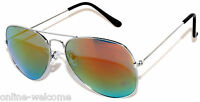 SILVER AVIATOR STYLE METAL FRAME SUNGLASSES SHADES UV400 MIRRORED LENS RED