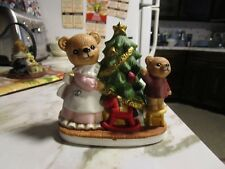 Homco 5114 Ceramic Figurine Mother & Child Bear At Christmas Tree Rocking Horse