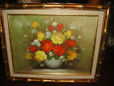 Vintage R. Thomas Signed Oil Painting On Canvas-Bouquet Of Roses-Framed-Detailed