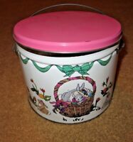 Vintage Child's Deco Tin Metal Lidded Bucket with Handle Colorful Bunny Rabbits