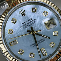 31mm Midsize Rolex Datejust 18K & SS Baby Blue MOP Mother Of Pearl Diamond Dial
