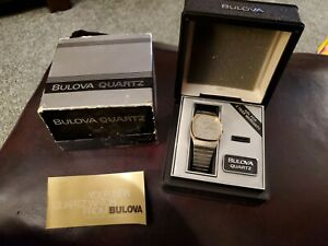 VINTAGE BULOVA QUARTZ SWISS MADE WATCH 82317, with box and booklet