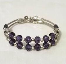 Ladies Jewelry Tibetan Silver Bracelet Purple Crystal Bead Bangle Woman Bracelet