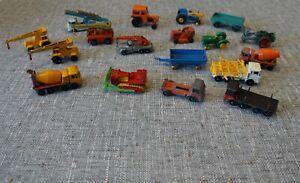 Vintage Matchbox Lesney etc. fixer up vehicles - farm vehicle, cranes, lorries.