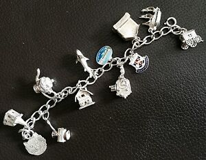 """Rare Antique 6.5""""/16cm Silver Charm Bracelet With Opening Charm Lockets (52g)"""