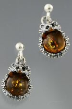 Genuine BALTIC AMBER Dangling Silver HEDGEHOG Earrings 3.4g 191210-14