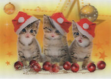 CHRISTMAS Kittens Singing - 3D Lenticular Postcard Greeting Card