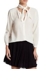 NWT Joie Nile Tie Neck Detail Silk Blouse~ PORCELAIN ~Medium~$288