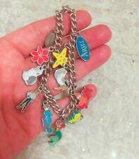 """Disney Ariel Little Mermaid 11 Enamel Silvertone Charm Bracelet - 7.5"""""""