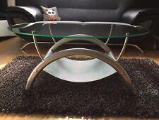 Beistelltisch, Wohnzimmertisch, Glastisch, Couchtisch (oval / Sockel aus Metall)