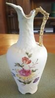 Antique Beautiful Austrian/Bohemian Hand Painted Porcelain Ewer Vase w/Flowers