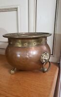 Vintage HAMMERED COPPER~BRASS Planter POT Lion Head~Claw Feetarts and crafts ?