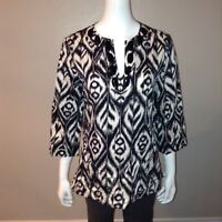 Jones New York Blouse Size M Medium Womens Ikat Tunic V Neck Shirt 3/4 Sleeve