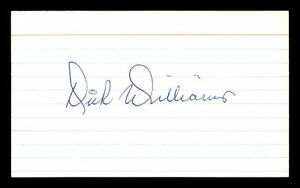 Dick Williams Authentic Autographed Signed 3x5 Index Card Red Sox & A's 174285
