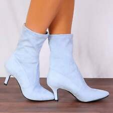 LIGHT BLUE SOCK STRETCH ANKLE HIGH BOOTS KITTEN HEELS SHOES SIZE 3 4 5 6 7 8