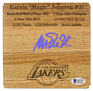 Lakers Magic Johnson Signed 6x6 floorboard w/ Purple Signature BAS Witnessed