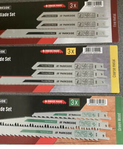 Sabre Saw Blades / Wood / Metal  3 PACKS  3per Pack NEW Swiss Made 2021 Lidl