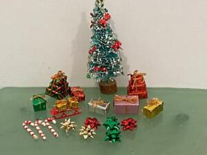Dollhouse Miniature Christmas Holiday Tree & Gifts Lot 18 Pc ROC Sled Bows Canes