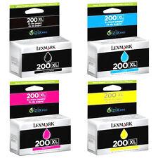 4 Pk Genuine Lexmark 200XL Set Ink Cartridges Black Cyan Magenta Yellow Pro 4000