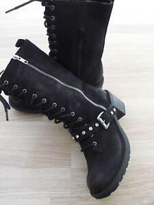 NEW Black Leather Boots UK 4 - Customised