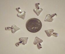50 PC SMALL SHINY SILVER HEART GLUE ON JEWELRY BAILS ALSO MAKE A GREAT CHARM