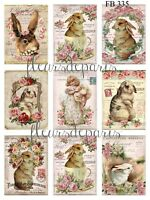 ~ Shabby Chic Vintage Easter Bunnies Girls 9 Prints on Fabric Quilting FB 335 ~