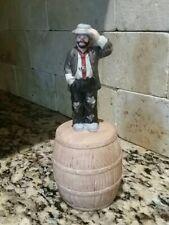 Emmett Kelly Jr Porcelain Hobo Clown Figurine On Barrel with Bell Flambro
