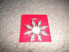 Kohl's antique silver-toned rhinestone snowflake pin for Christmas holiday NEW