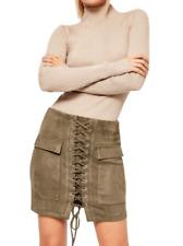 Petite Faux Suede Lace Up Mini Skirt Khaki Size UK 10 rrp £25 DH099 DD 09