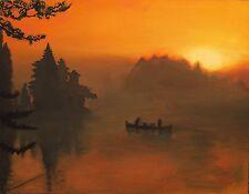 "S KENDALL OSBORNE ""SUNSET CANOE"" | SIGNED ORIGINAL OIL/WOOD | 30""X24"""