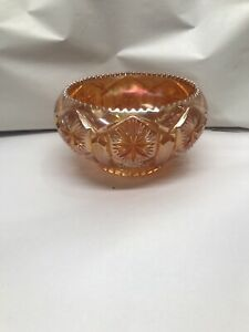Antique Imperial Indiana Carnival Glass Marigold Open Rose Saw Tooth Edge Bowl