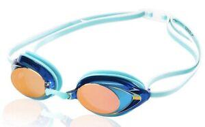 Speedo Women's Vanquisher 2.0 Mirrored Goggles Aqua Anti-Fog, Latex free