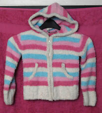 New without Tags Girls Cream/Pink/Blue Striped Hooded Zip Up Cardigan - Age 5-6