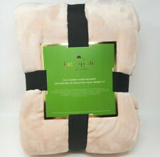 Kate Spade New York Full Queen Fleece Soft Blanket Light Blush Pink 98 x 92